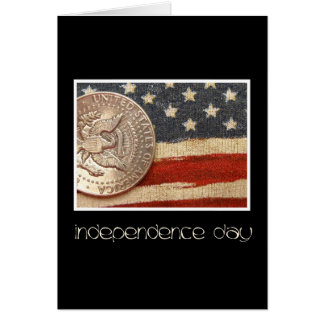 black vintage coin on flag Independence day greeti Greeting Card