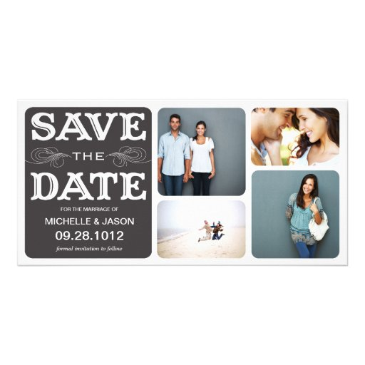 BLACK VINTAGE COLLAGE   SAVE THE DATE ANNOUNCEMENT CUSTOMIZED PHOTO CARD