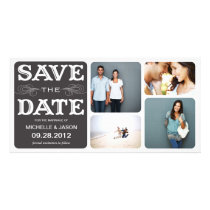 BLACK VINTAGE COLLAGE | SAVE THE DATE ANNOUNCEMENT PERSONALIZED PHOTO CARD