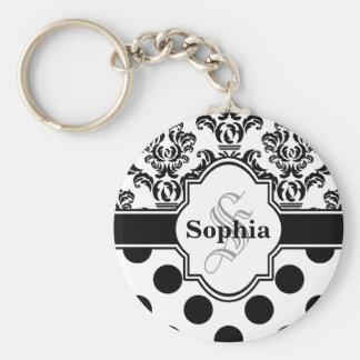 Black Vintage Damask Cute Polka Dots Basic Round Button Keychain