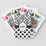 Black Vintage Damask Cute Polka Dots Bicycle Playing Cards