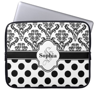 Black Vintage Damask Cute Polka Dots Computer Sleeve