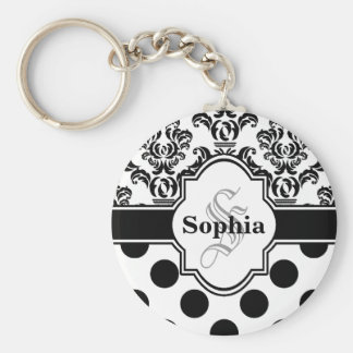 Black Vintage Damask Cute Polka Dots Keychain
