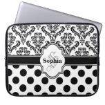 Black Vintage Damask Cute Polka Dots Laptop Sleeve