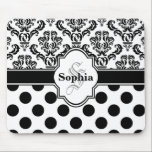 "Black Vintage Damask Cute Polka Dots Mouse Pad<br><div class=""desc"">Classic and classy black and white damask pattern with cute polka dot pattern. Graphic design features a retro style nameplate with monogram initial letter and first name. Elegant trendy chic gift for girly girls and women.</div>"