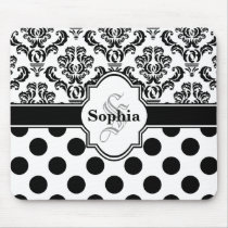 Black Vintage Damask Cute Polka Dots Mouse Pad
