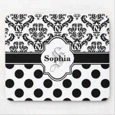 Black Vintage Damask Cute Polka Dots Mouse Pad at Zazzle