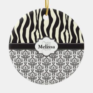 Black Vintage Damask Cute Zebra Stripe Pattern Ceramic Ornament
