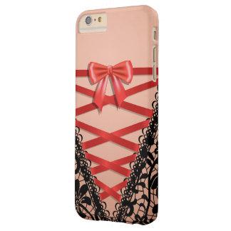 Black Vintage Damask Lace Corset Bridal Lingerie Barely There iPhone 6 Plus Case