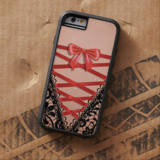 Black Vintage Damask Lace Corset Bridal Lingerie Tough Xtreme iPhone 6 Case