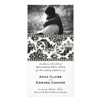 Black Vintage Damask Lace Save the Date Card