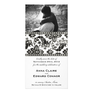 Black Vintage Damask Lace Save the Date Picture Card