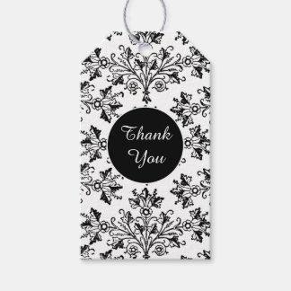 Black Vintage Damask Pattern Custom Thank You Tag Pack Of Gift Tags