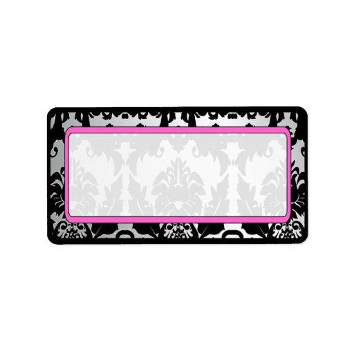 Black Vintage Damask Pink & Silver Address Label