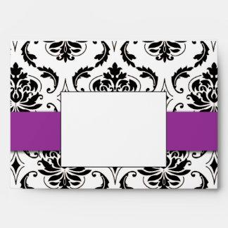 Black Vintage Damask Purple Wedding Invitation Envelope