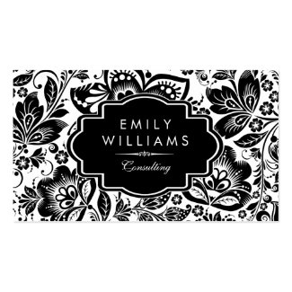 Black vintage damasks and frame on white Double-Sided standard business cards (Pack of 100)