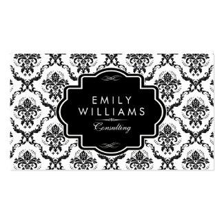 Black Vintage Damasks & Frame On White Double-Sided Standard Business Cards (Pack Of 100)