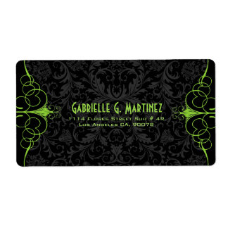 Black Vintage Damasks & Green Ornate Frame Personalized Shipping Label