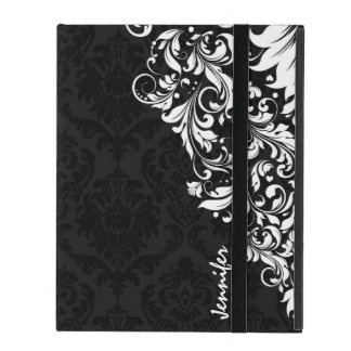 Black Vintage Damasks & White Floral Lace iPad Folio Case