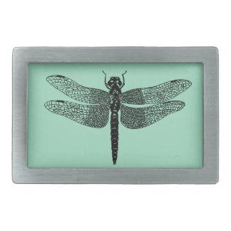 Black Vintage Dragonfly Nature Art Rectangular Belt Buckle