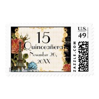 Black Vintage Eiffel Tower Rose 15th Quinceañera Postage Stamps