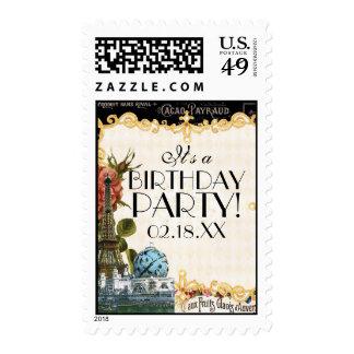 Black Vintage Eiffel Tower Rose Birthday Parties Stamps