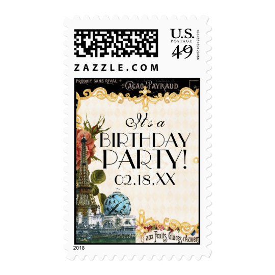 Black Vintage Eiffel Tower Rose Birthday Parties Postage