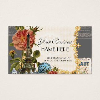 Black Vintage Eiffel Tower Rose Elegant Business Business Card