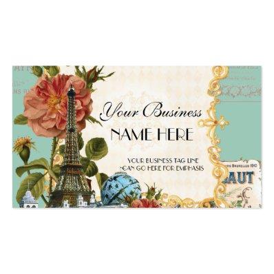 Black Vintage Eiffel Tower Rose Elegant Business Business Card Templates