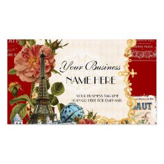 Black Vintage Eiffel Tower Rose Elegant Business Double-Sided Standard Business Cards (Pack Of 100)