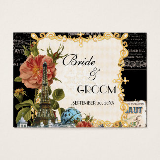 Black Vintage Eiffel Tower Rose Gift Registry Card