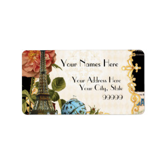 Black Vintage Eiffel Tower Rose Matching Address Label