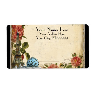 Black Vintage Eiffel Tower Rose Matching Shipping Label