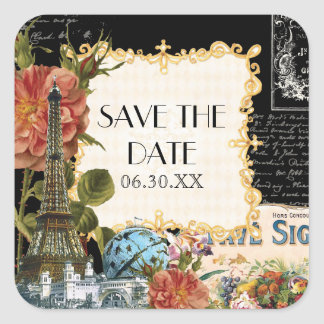 Black Vintage Eiffel Tower Rose Save the Date Seal Square Sticker