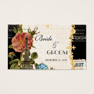 Black Vintage Eiffel Tower Rose Seating Place Card
