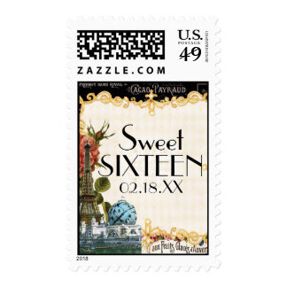 Black Vintage Eiffel Tower Rose Sweet 16 Parties Stamps