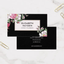 Black vintage Floral business card