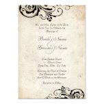 Black Vintage Floral Chic Wedding Invitation