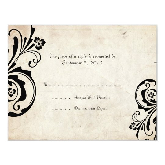 Black Vintage Floral Chic Wedding RSVP Card