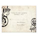 Black Vintage Floral Chic Wedding RSVP 4.25x5.5 Paper Invitation Card