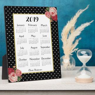 Black Vintage Floral Dots Monogram 2019 Calendar Plaque