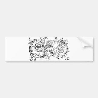 Black Vintage Floral Monogram S Decorative Bumper Sticker