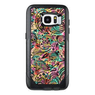 Black Vintage Floral Paisley Colorful Back G1 OtterBox Samsung Galaxy S7 Edge Case