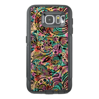 Black Vintage Floral Paisley Colorful Back OtterBox Samsung Galaxy S6 Case
