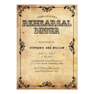 Black Vintage Floral Rehearsal Dinner Card