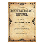 Black Vintage Floral Rehearsal Dinner Card Personalized Invitation