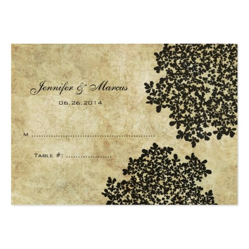 Black Vintage Floral Seating Card Business Card Templates
