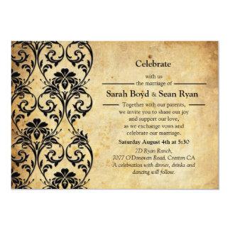 "Black Vintage Floral Swirl Wedding Invitation 5"" X 7"" Invitation Card"