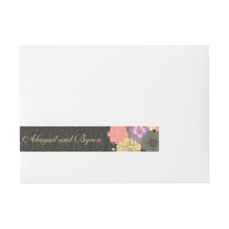 Black Vintage Floral Wedding Wrap Sticker Wrap Around Address Label
