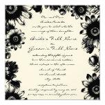 Black Vintage Flower Wedding Invitation